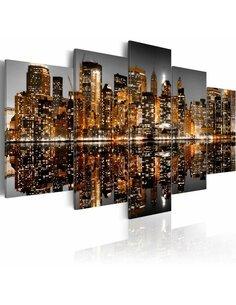 Tableau - 5 tableaux - Impressions dorées de Manhattan New York Artgeist