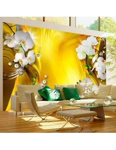 Papier Peint Orchid In Gold  Orchidées Artgeist